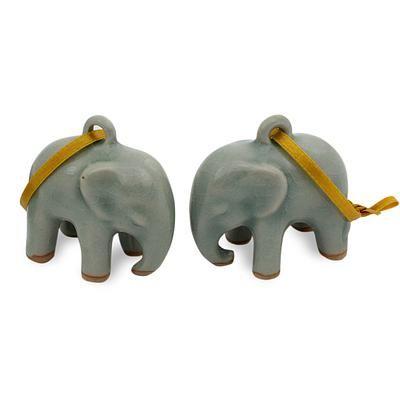 Celadon Ceramic Ornaments Light Blue Elephant Pair Celadon Ceramics Ceramic Ornaments Blue Elephants