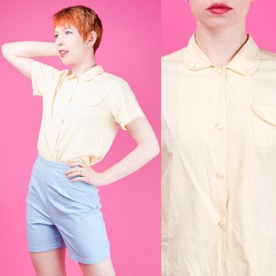 PASTEL YELLOW 40s COTTON Vtg Top Button down Short Sleeve Shirt/ Blouse PREPPY M $89.99