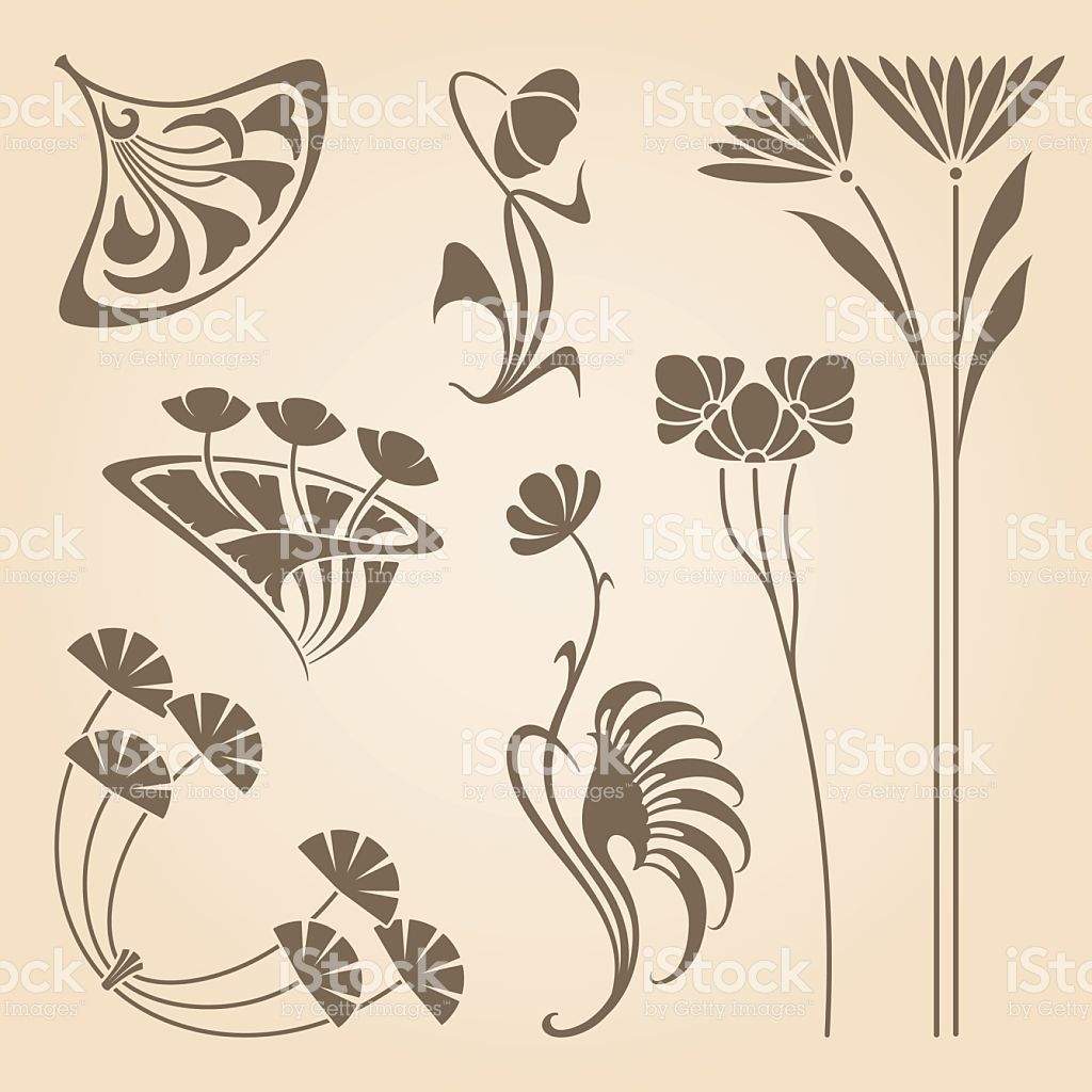 Jugendstil Malerei Vector Set Of Vintage Art Nouveau Design Elements