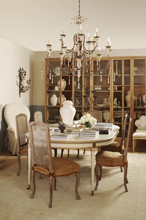 Suzanne Kasler Lighting And Rugs Casual Elegance Inspired Dinning Room Elegance