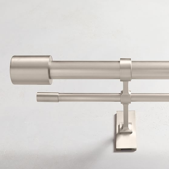 Oversized Metal Double Rod Brushed Nickel In 2020 Double Rod Curtains Metal Curtain Curtain Rods
