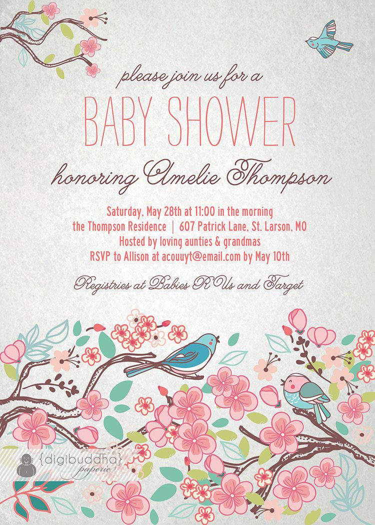 Bloom Bird Baby Shower Invitation Garden Tree Floral Baby Girl ...