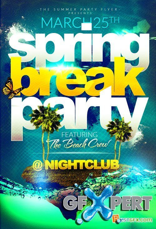Flyer Template  Spring Break Island Party   Flyer  Editorial