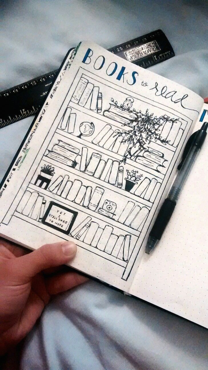 """BOOKS TO READ"" in bullet journal /book shelf drawing/ #bulletjournal #books #bo… 