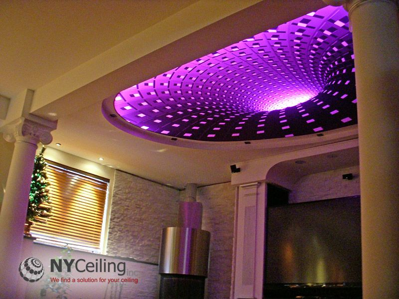 LED Strip lighting Project tropical-patio. NYCeiling Inc. - Portfolio -  Living room - Fabric seamless stretch ceiling with 3D