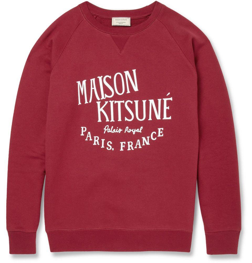 Maison Kitsune Printed Loopback Cotton Jersey Sweatshirt Maison Kitsune Sweatshirts Designer Clothes For Men [ 1002 x 960 Pixel ]