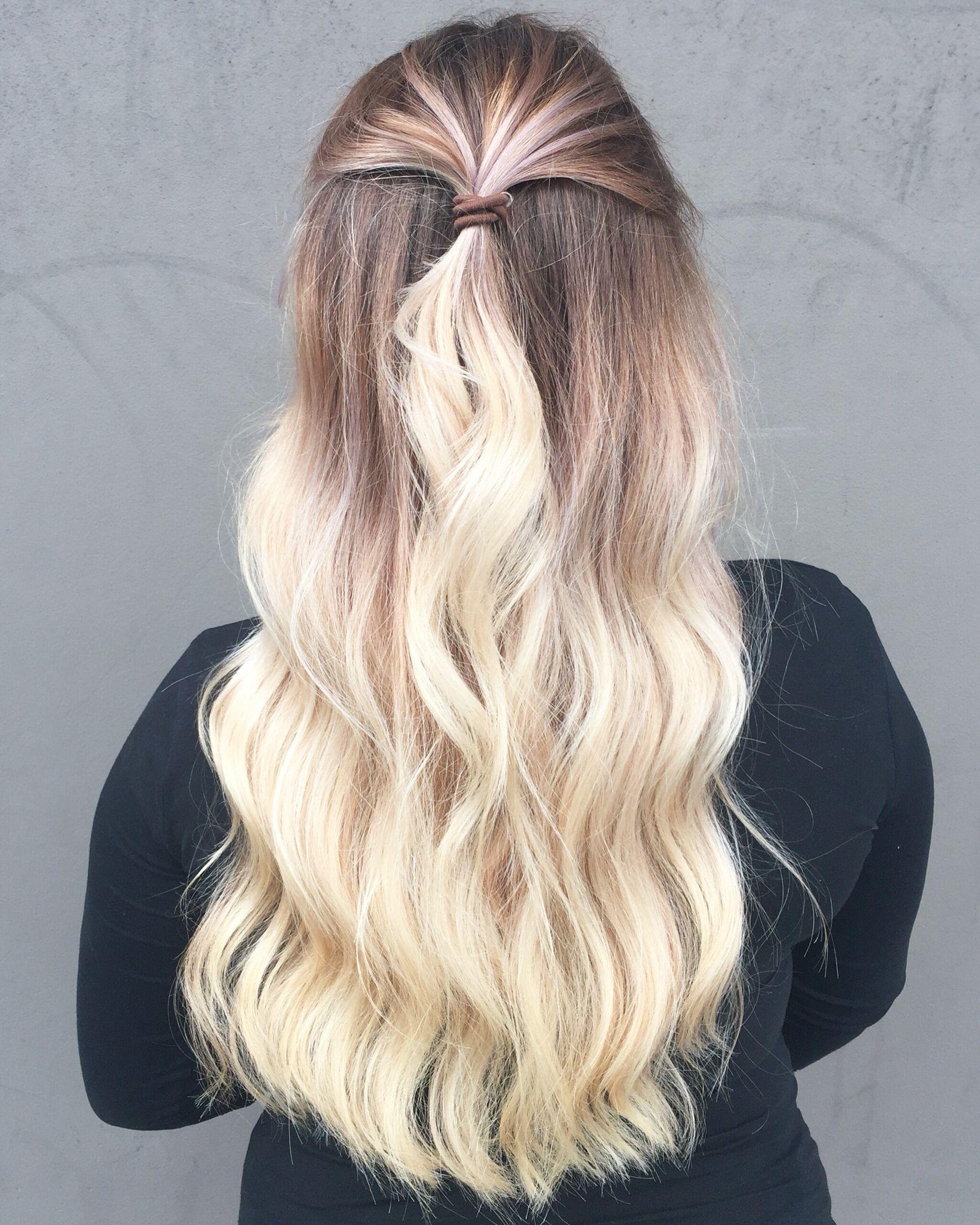 Half up half down Lived in hair colour Blonde brunette golden tones