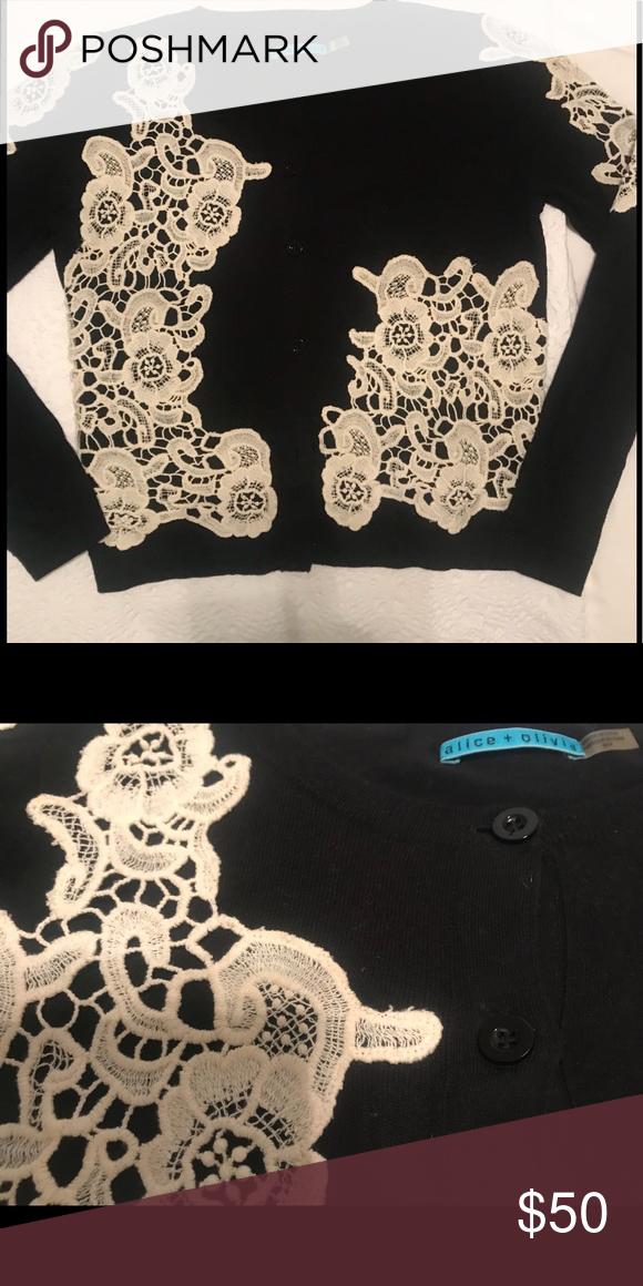 Black Cardigan With White Lace Black Cardigan White Lace Black