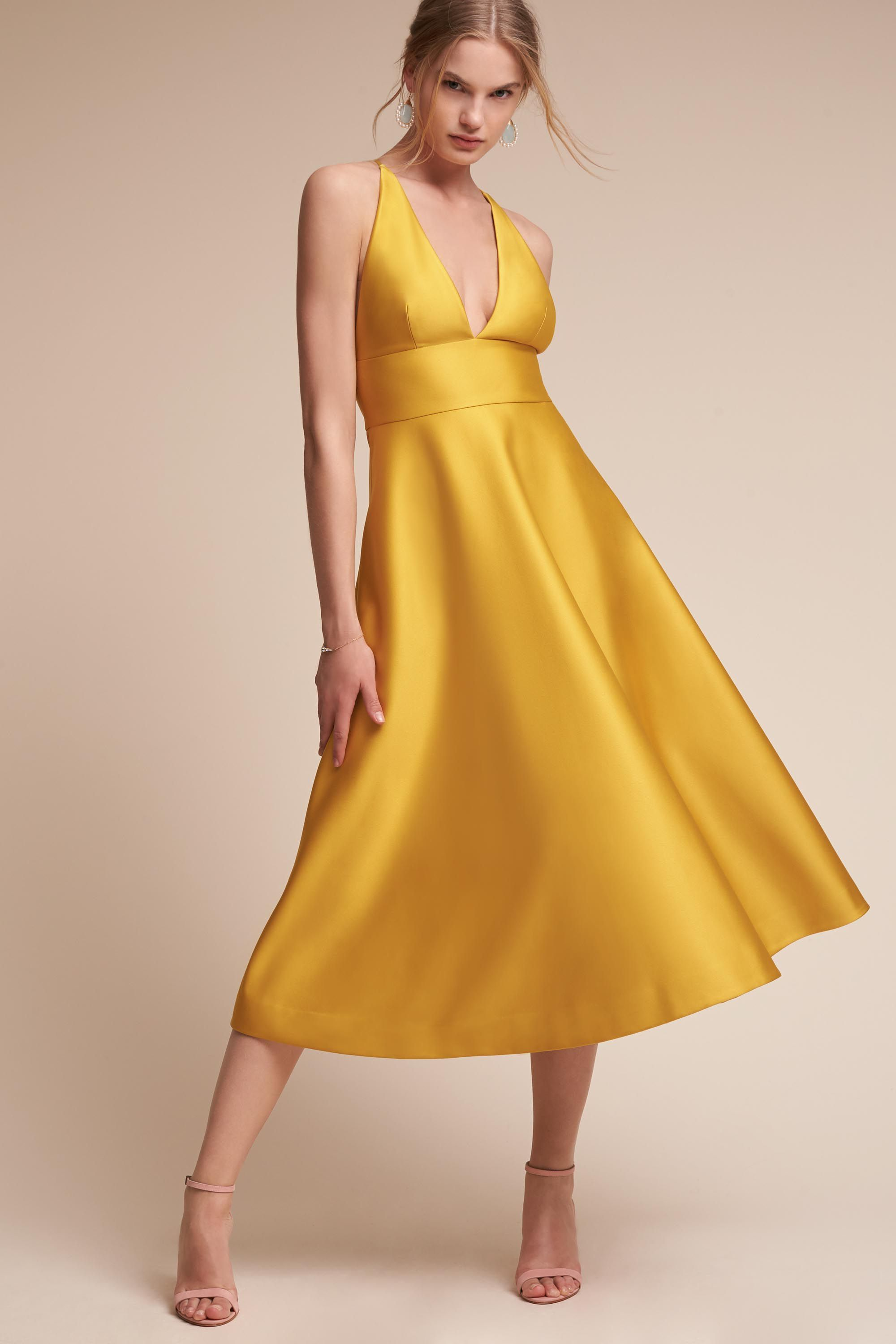 reputable site classic style price reduced Shelby Dress from @BHLDN | Dresses, Yellow satin dress ...
