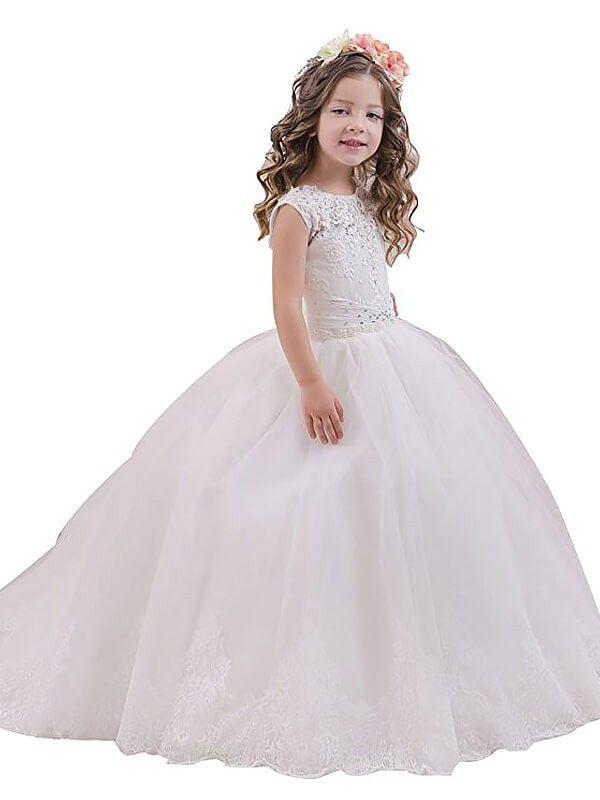 2019 Long Flower Girl Dresses Ball Gown Tulle Scoop White in