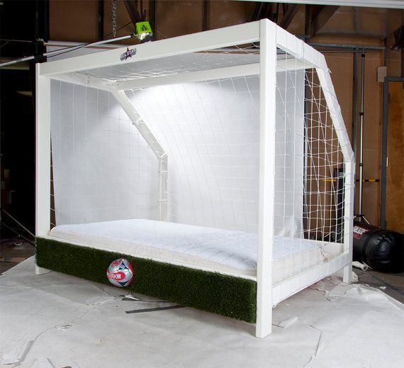 astounding soccer bedroom ideas | Soccer Goal Twin Bed Sports Themed Furniture | Soccer ...