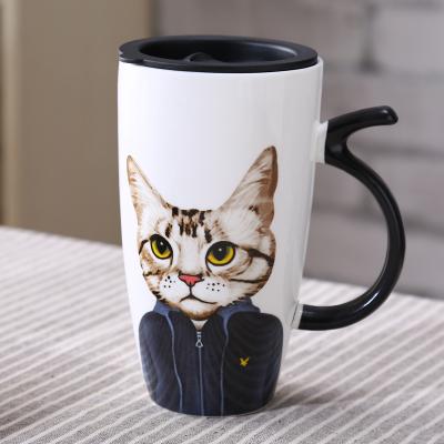 Cute cat ceramic cup