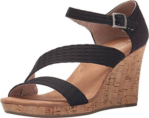 TOMS Womens Clarissa Wedge Black TextileCork Sandal 11 B M >>> Click image to review more details.
