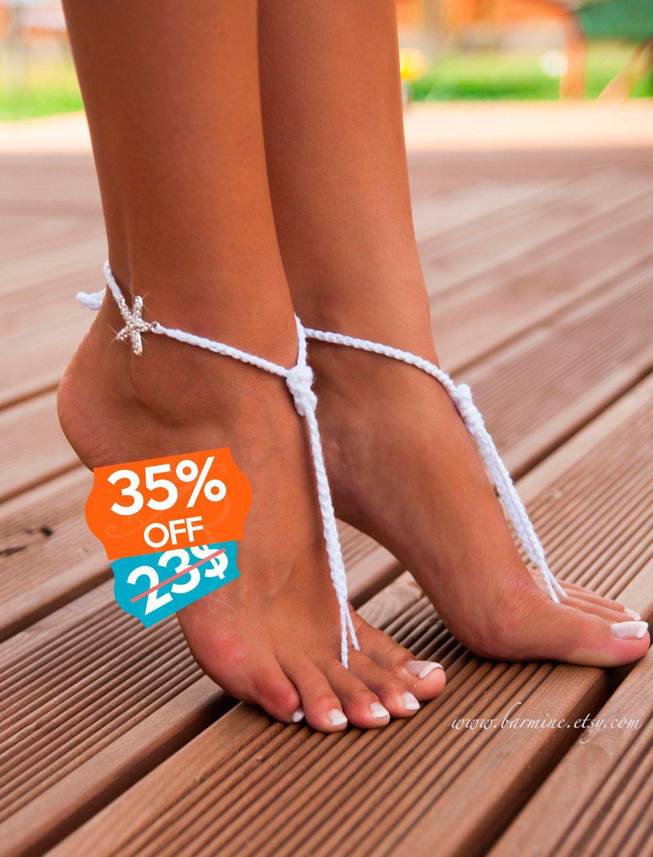 Beach wedding foot jewelry  Beach wedding Rhinestone Starfish crochet barefoot sandals Feet