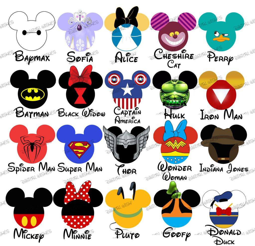 Choose your mouse head characters disney family vacation digital clip art my heart has ears