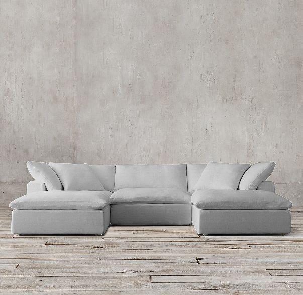 Cloud Modular Slipcovered U Chaise Sectional Modular Furniture