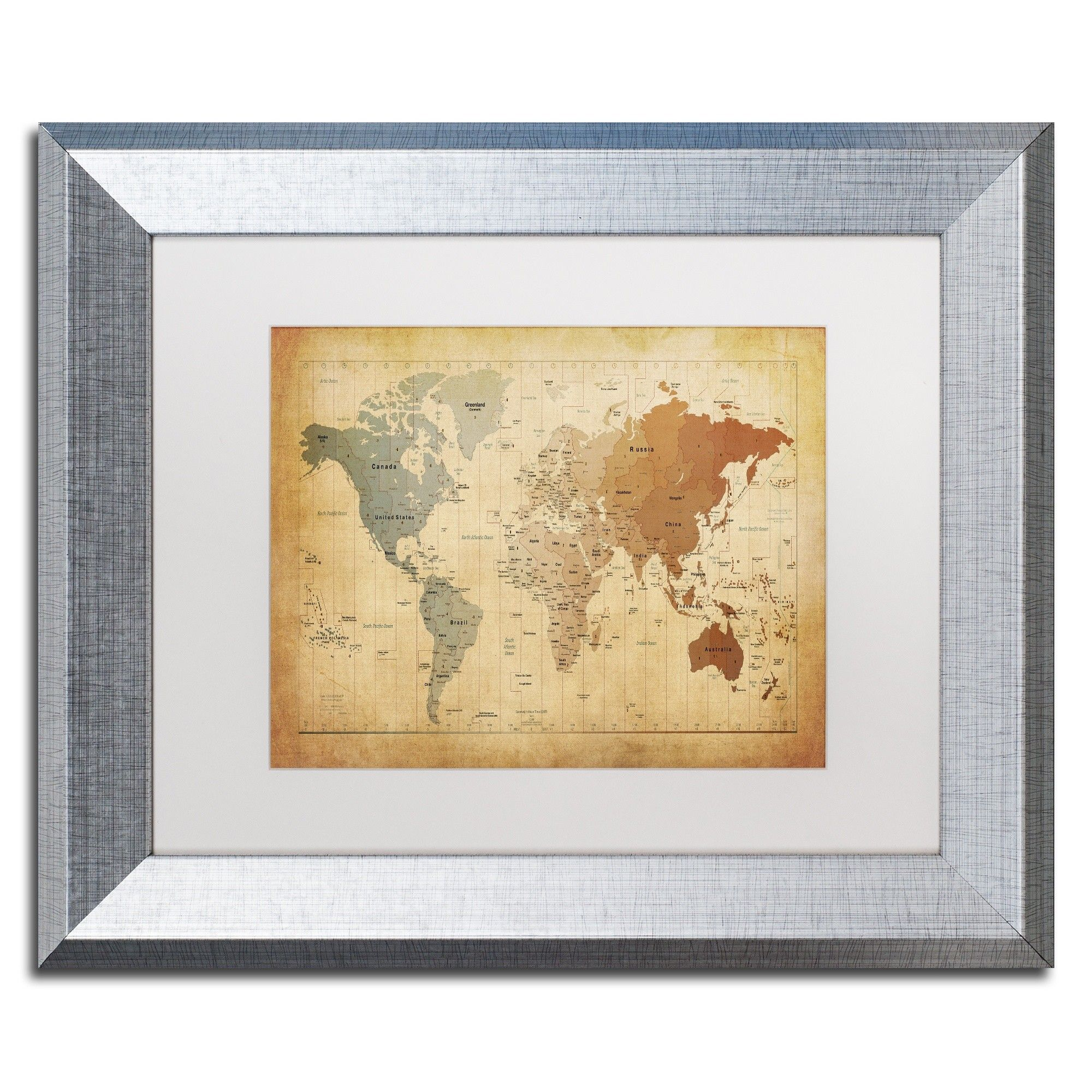 Time Zones Map of the World by Michael Tompsett Framed Graphic Art ...