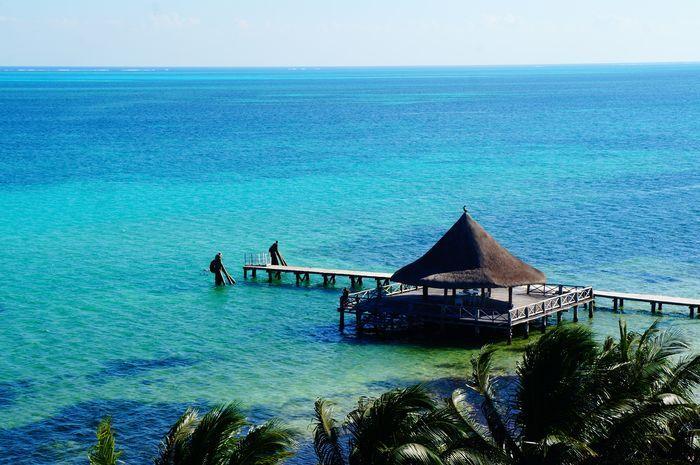 View is inspiring and breath-taking. Isn't it? Aqua blue sea, Maxico.