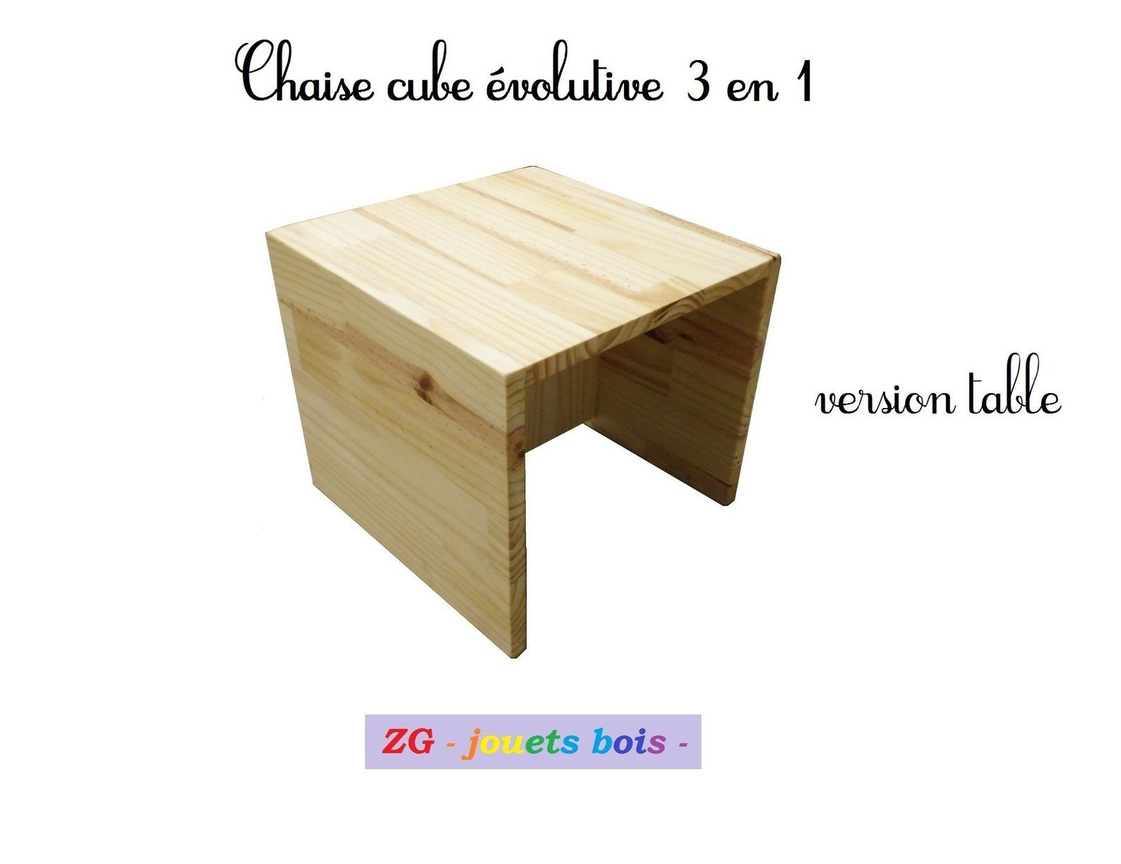Chaise Cube Montessori Chaise En Bois Evolutive 3en 1 Deux Hauteurs D Assise Table D Appoint Mobilier Bebe Inscription Personnalisable Step Stool Decor Cube