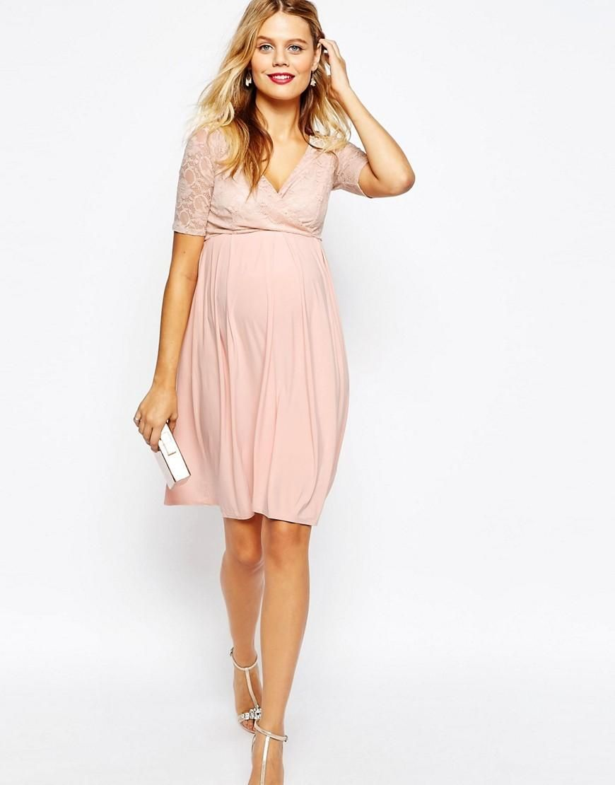 Maternity NURSING Midi Dress with Lace Wrap Front | Umstandsmode