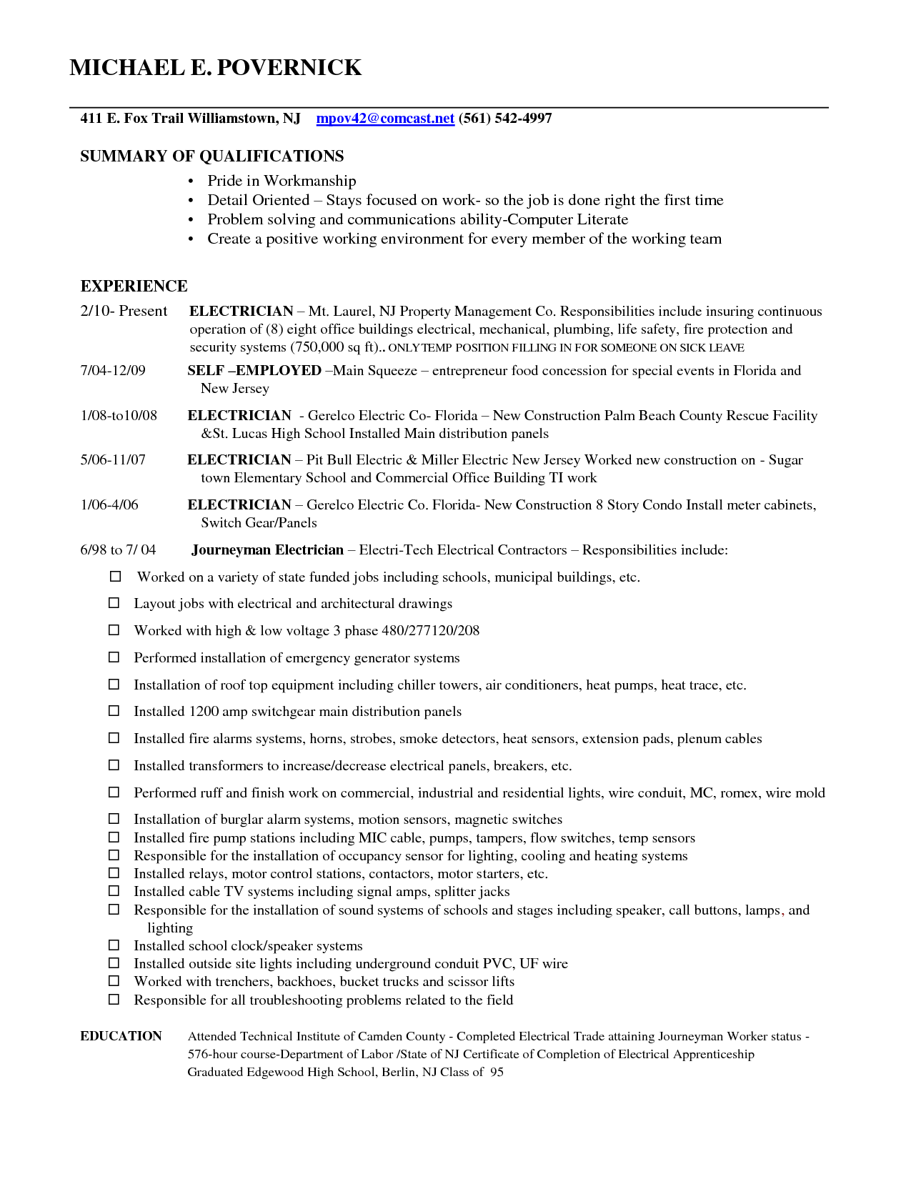 sample employment resume