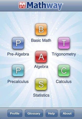 "MATHWAY APP ""basic math, prealgebra, algebra"