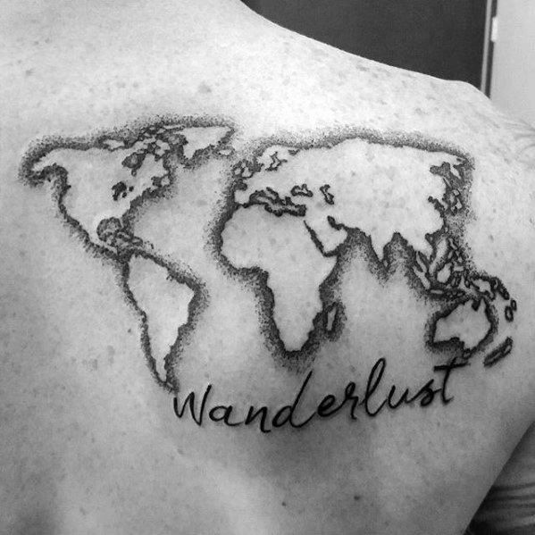 Gentleman with negative space world map wanderlust upper back gentleman with negative space world map wanderlust upper back tattoo gumiabroncs Gallery