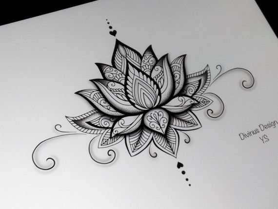 Lotus Mandala Tattoo Design And Stencil Template Instant Digital Download Tattoo Permit In 2021 Lotus Mandala Tattoo Mandala Tattoo Design Lotus Tattoo Design