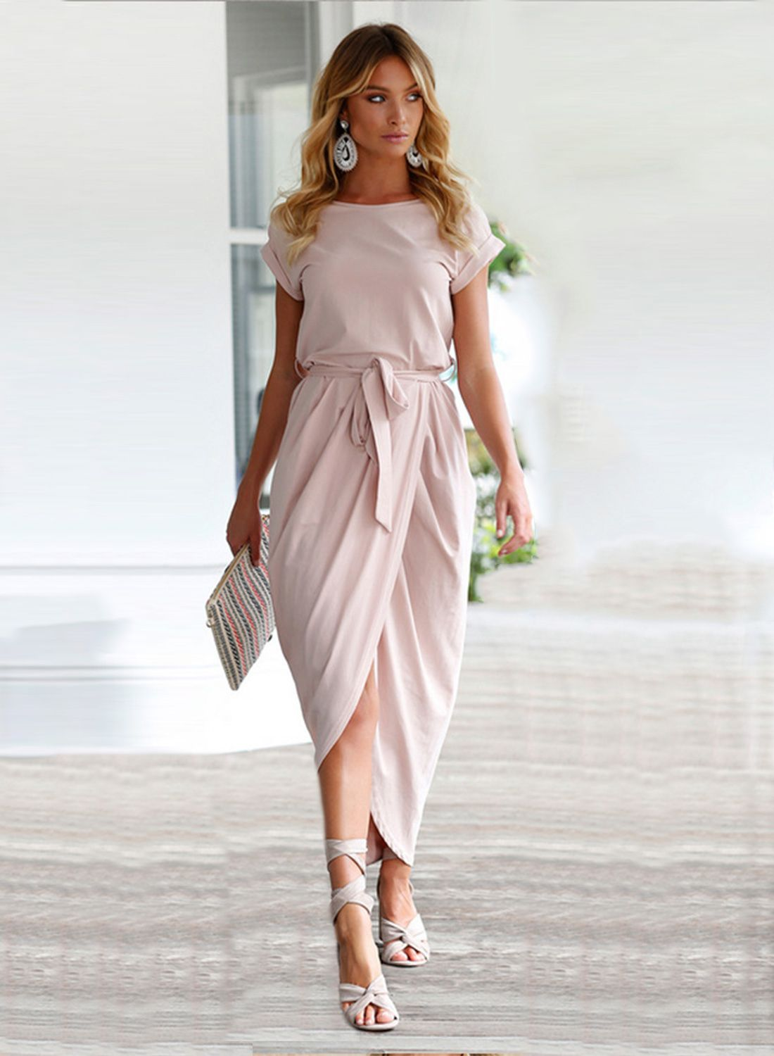 Short sleeve high slit solid maxi dress with belt clothe me