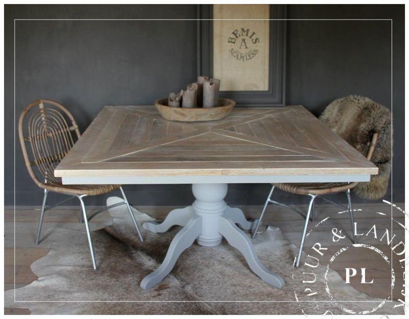 10x Vierkante Eettafel : Maatwerk landelijke eettafel soft grey romantic beach