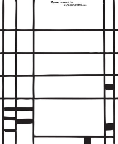 Composition 10 By Piet Mondrian Coloring Page From Piet Mondrian