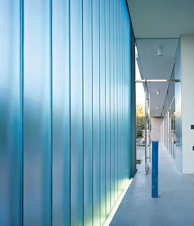Walls Of Channel Glass An Industrial Material That Comes In Long Strips Shaped In A Shallow U Help Prese Channel Glass Glass Wall Office Lighted Glass Blocks