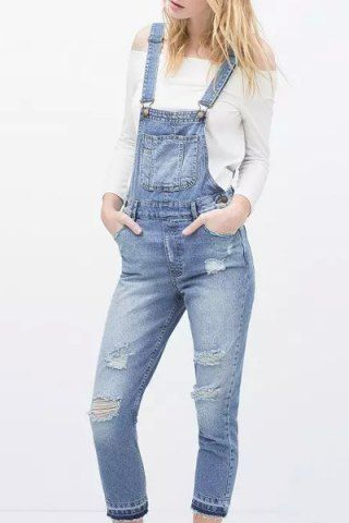 5d77c6ad2704 Fashionable Frayed Broken Hole Pockets Denim Overalls For Women ...