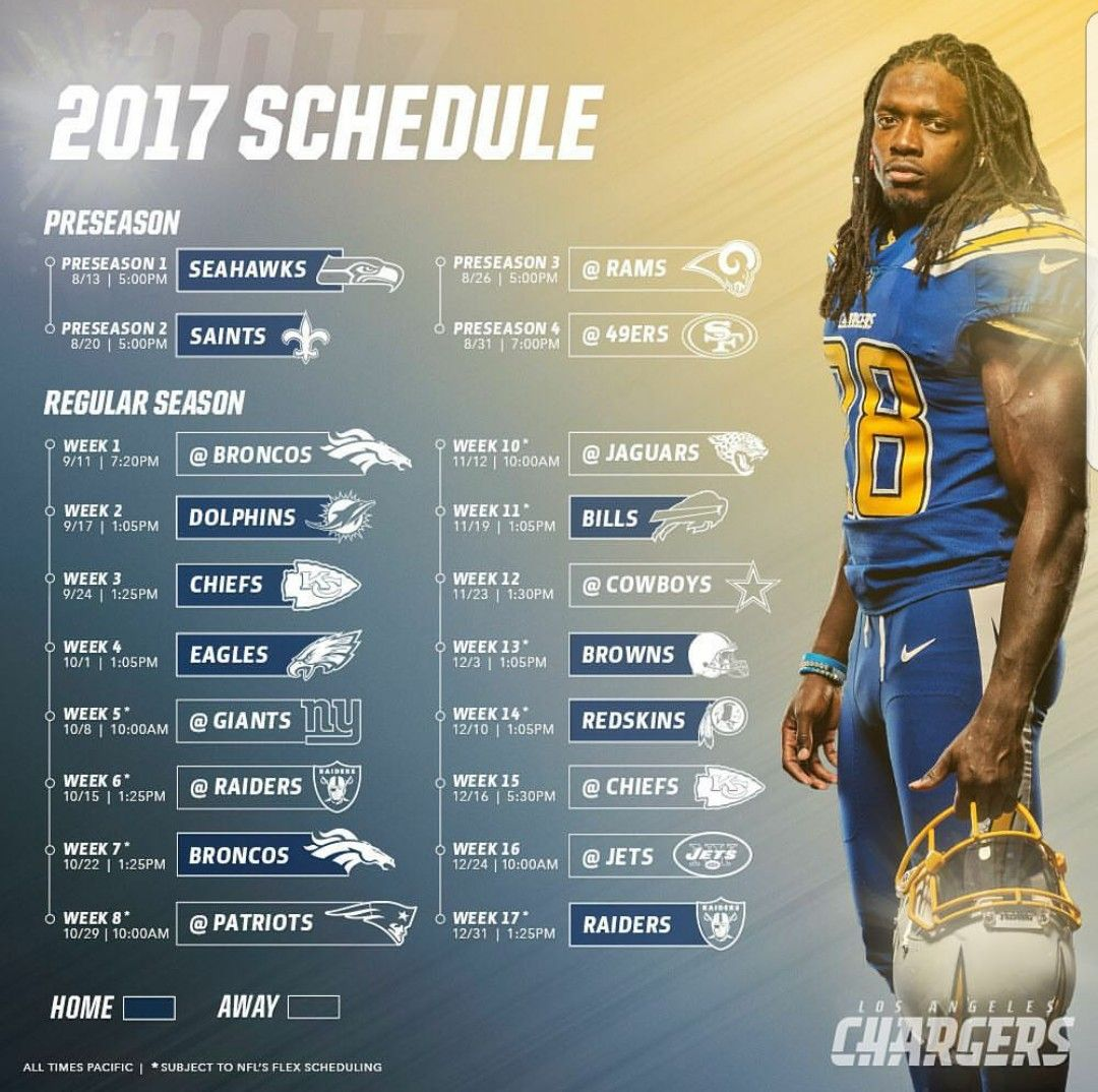 Los Angeles Chargers 2017 Schedule Football game