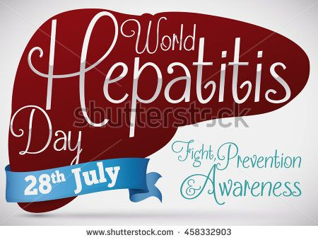 Poster with liver silhouette promoting the prevention and care of hepatic diseases in World Hepatitis Day.