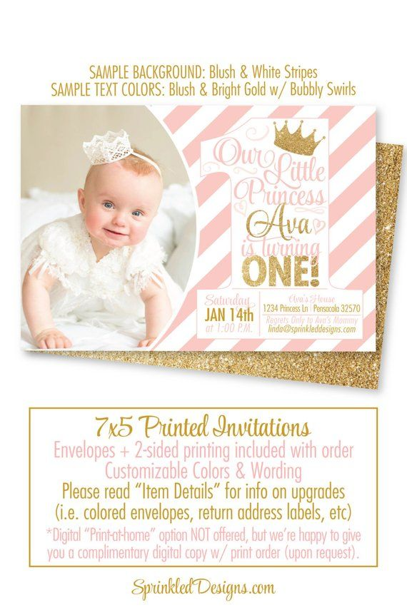 Princess Birthday Invitations Blush Pink Gold Glitter 1st Photo Card First Bi