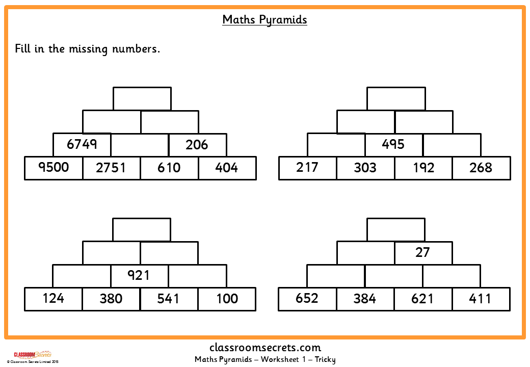 Six differentiated activities about Maths Pyramids. | Mental Math ...