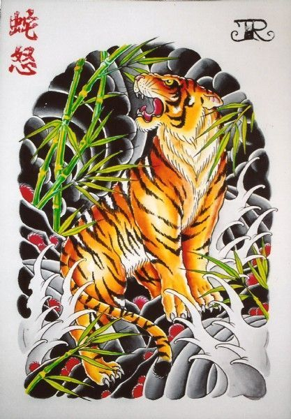 Multicolor japanese-style tiger tattoo design on back
