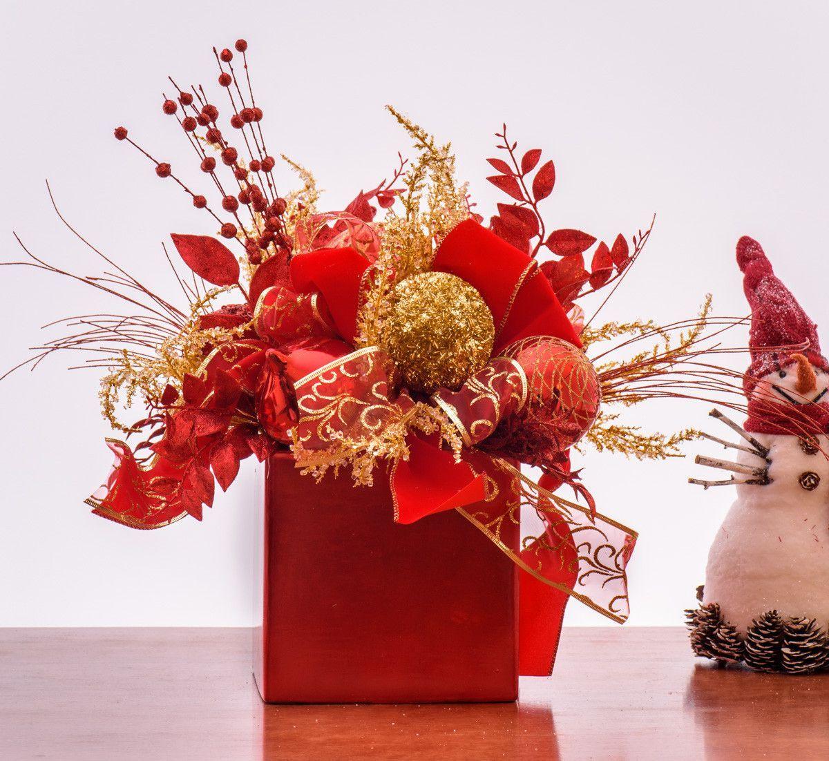 Red gold ornament arrangement christmas craft ideas - Ideas para arreglos navidenos ...