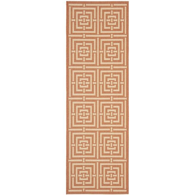 Safavieh Poolside Terracotta Cream Indoor Outdoor Rug 2 4 X 9 11