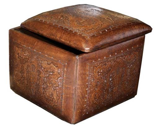 Western Ottoman With Storage Colonial Cube Ottoman Leather