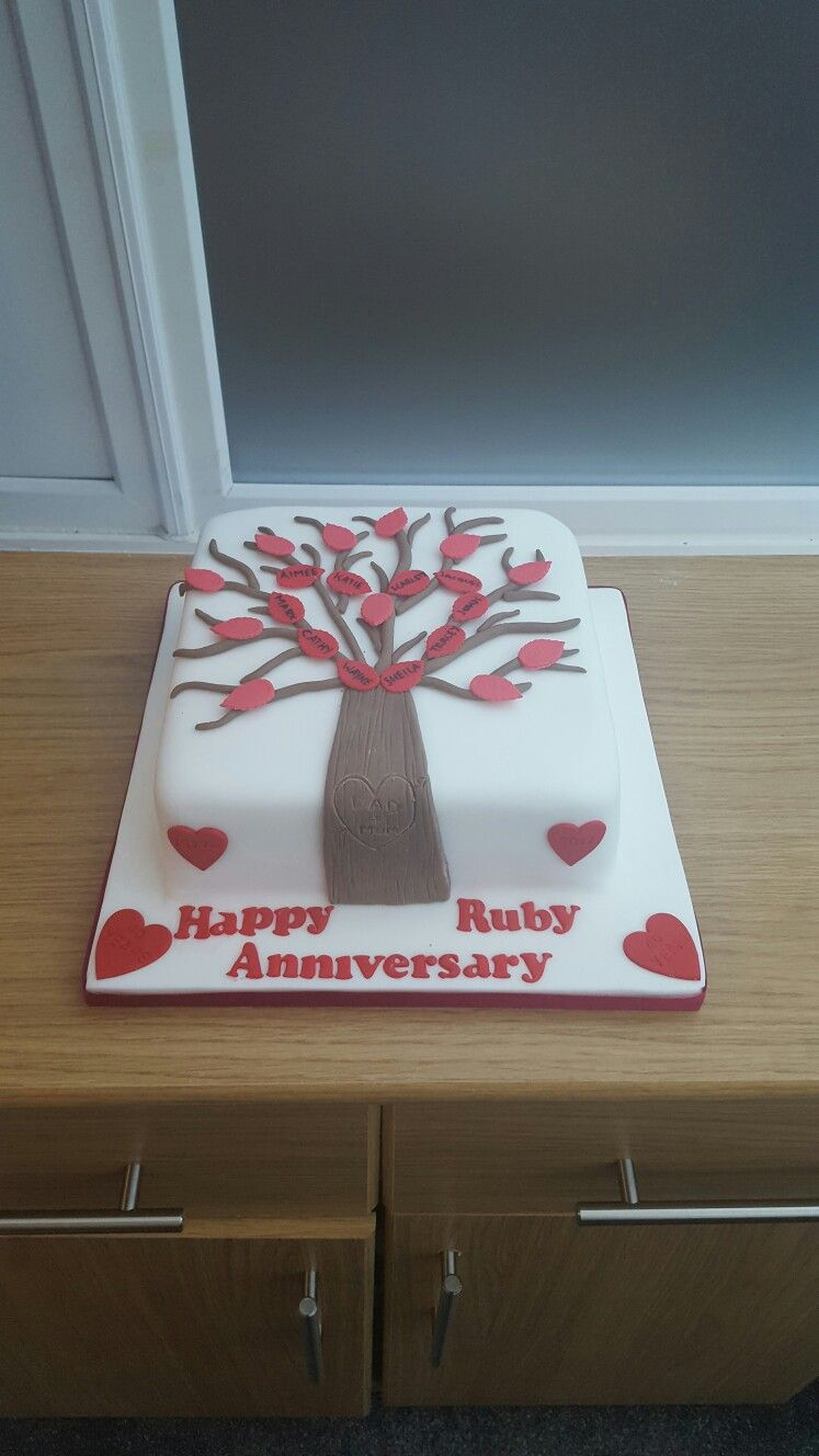 Family tree ruby anniversary cake