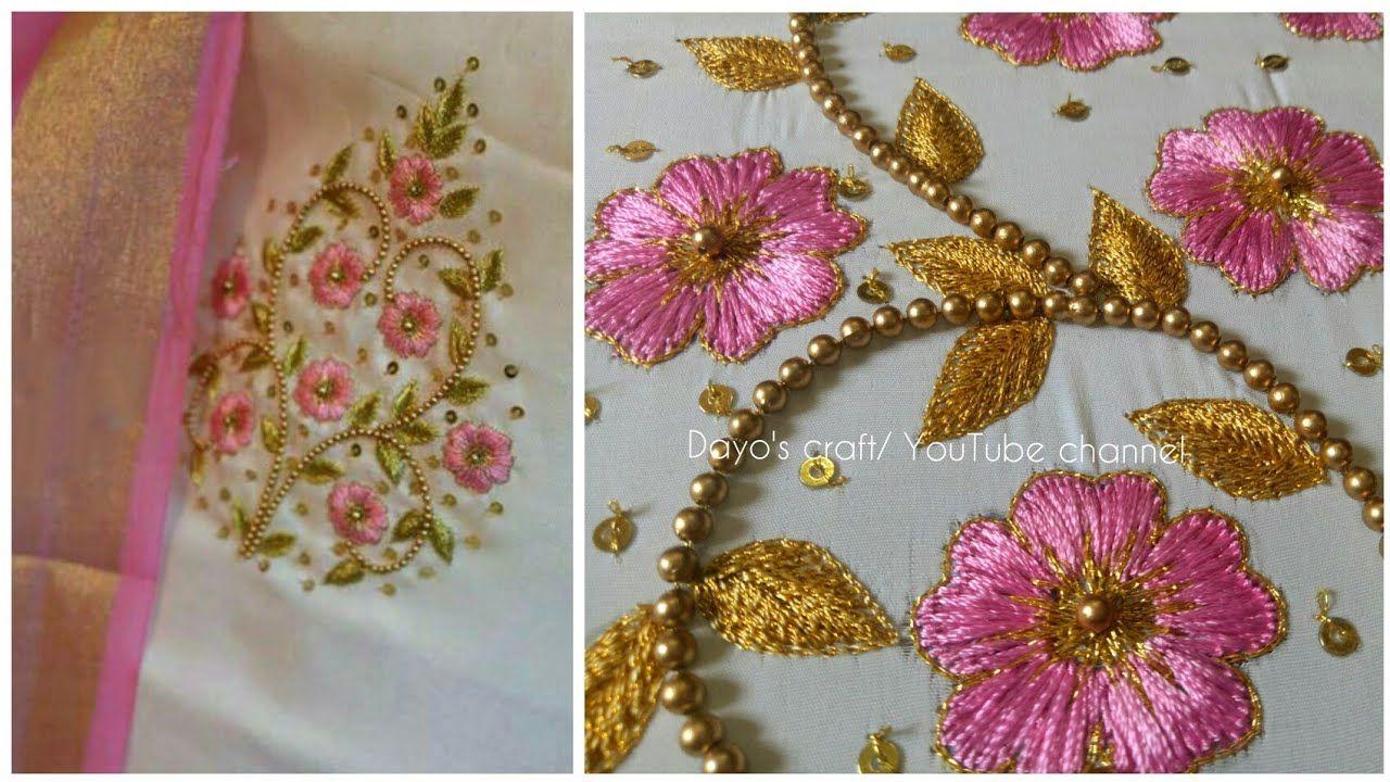 Aari Work Embroidery Flower Filling Stiches Butta Design On