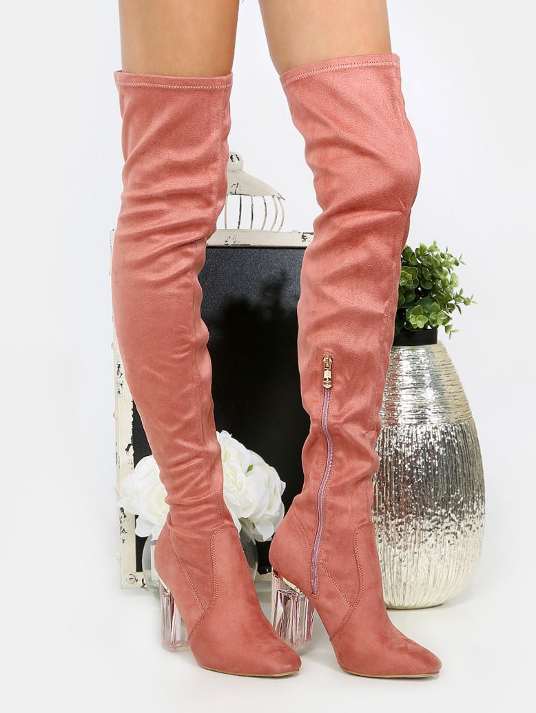 c82041c91f7a Clear Heel Thigh High Boots PINK