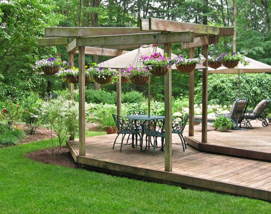 Wood deck with pergola ireland pergolas made composite for Garden decking ideas pinterest
