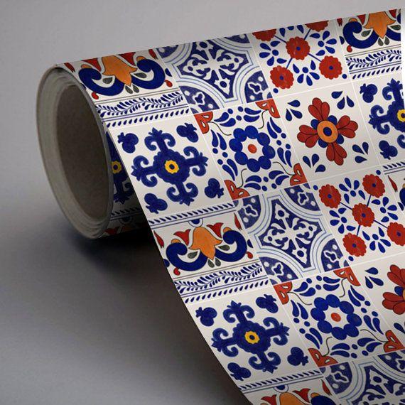 Mexican Patchwork Mix Wallpaper Removable Vinyl L Stick No Glue Mess