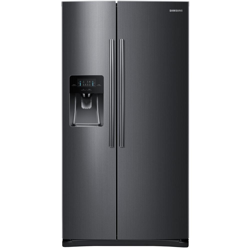 Samsung 24 5 Cu Ft Side By Side Refrigerator In Black Stainless Steel Rs25j500dsg T Side By Side Refrigerator Samsung Black Stainless Black Stainless Steel
