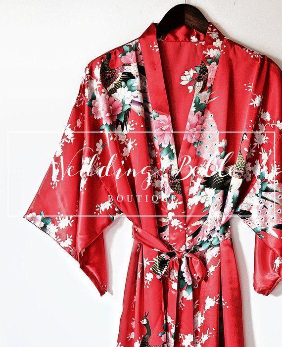 0ba4ea2120 Classic Kimono Robe - Red Peacock Robe - High Quality Satin Robe -  Embroidered Robe - Customize Robe - Red Robe - Red Kimono - Wedding Robes  in 2018 ...