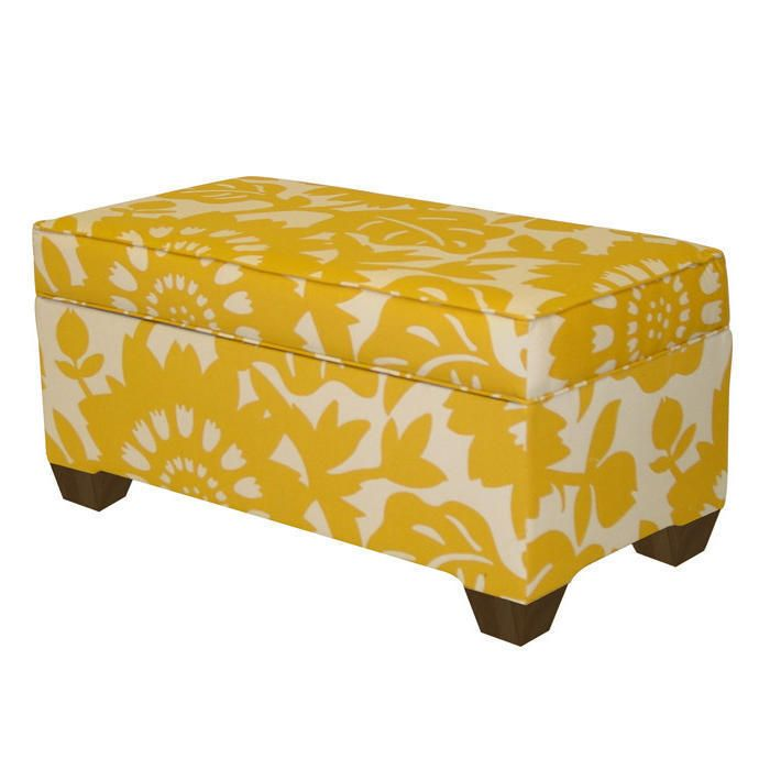 Prime Modern Yellow Floral Print Ottoman Storage Bench Seat Gmtry Best Dining Table And Chair Ideas Images Gmtryco