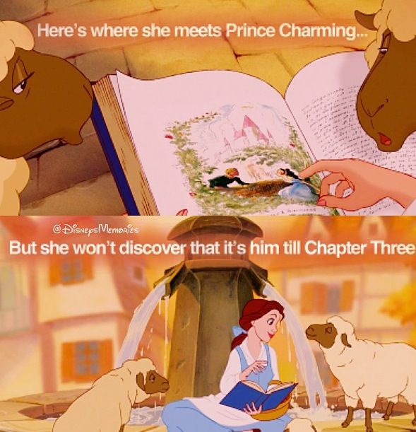 This might have been obvious to most people but it just occurred to me that this is a foreshadowing of Belle's own romance with the Beast.
